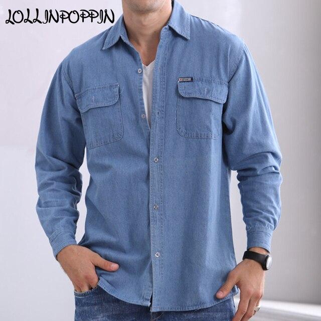 0778a89472 Mens Blue Denim Shirt With Chest Flap Pockets New 2018 Long Sleeve Casual Jean  Shirts For Men Cowboy Shirt
