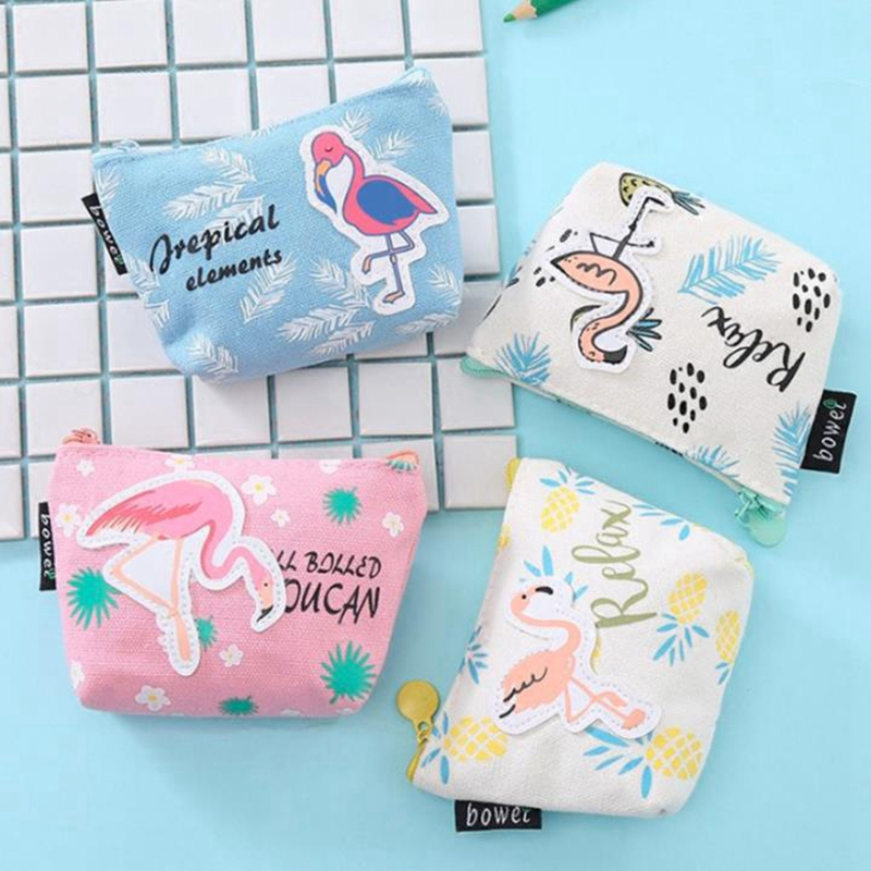 Children Cartoon Animal Flamingo Coin Purses Holder Canvas Girl Change Mini Wallets Money Coin Bag Kids Baby Zipper Pouch Gift
