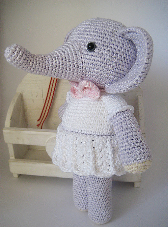 Crochet Baby Amigurumi  The Elephant  Rattle
