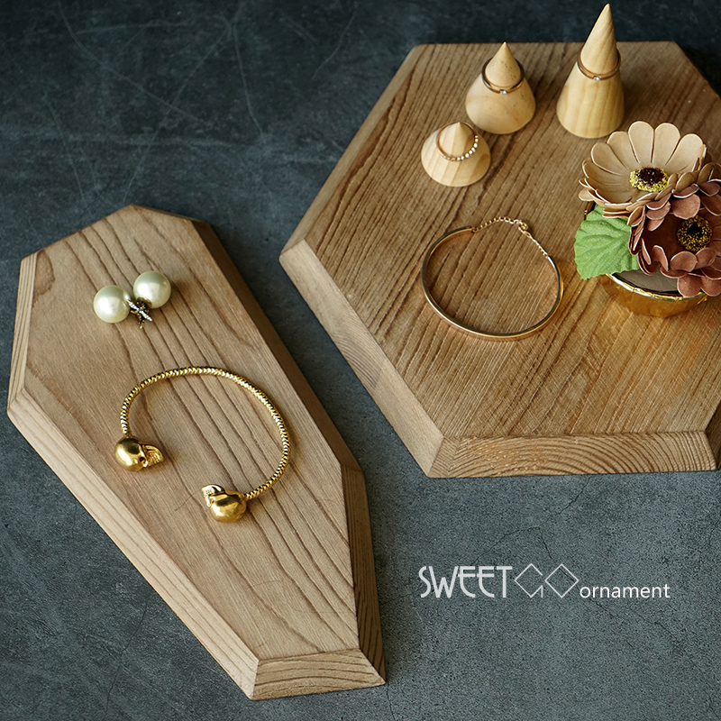 Wood cake holder polygon tray vintage Chopping block Handle pizza board Nordic cupcake food photography props tools