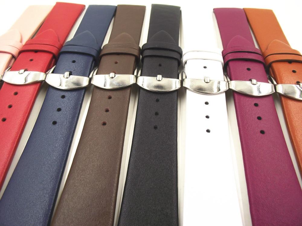 1 PCS 12 MM 14 MM 16 MM 18 MM 20 MM 22 MM lisse grain véritable en cuir (vachette) montre bracelet de montre de bande hommes et femmes bretelles WS0119