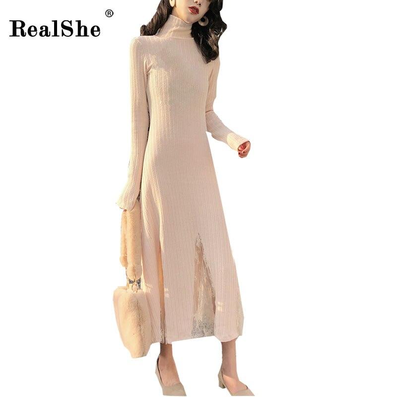 RealShe Vintage Dress Women Elegant Long Dresses Ladies Winter Slim Lace Patchwork Turtleneck Long Sleeve Tunic