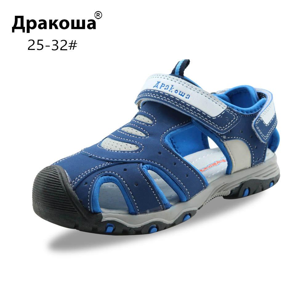 Apakowa Little Boys Closed Toe Summer Sports Gladiator Sandals Kids Quick Drying Hook And Loop Pool Beach Walking Shoes For Boys