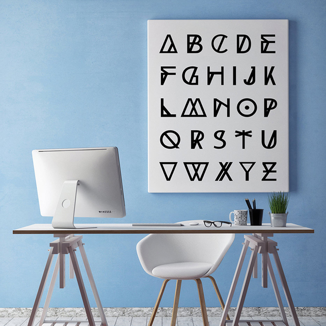 Modern Alphabet Canvas Wall Art, Printable Geometric , Scandinavian Poster,  Nordic Decor Black Office