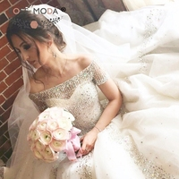 Rose Moda Luxury Princess Wedding Dress 2019 with Crystals Off Shoulder Short Sleeves Bridal Dresses with Long Train