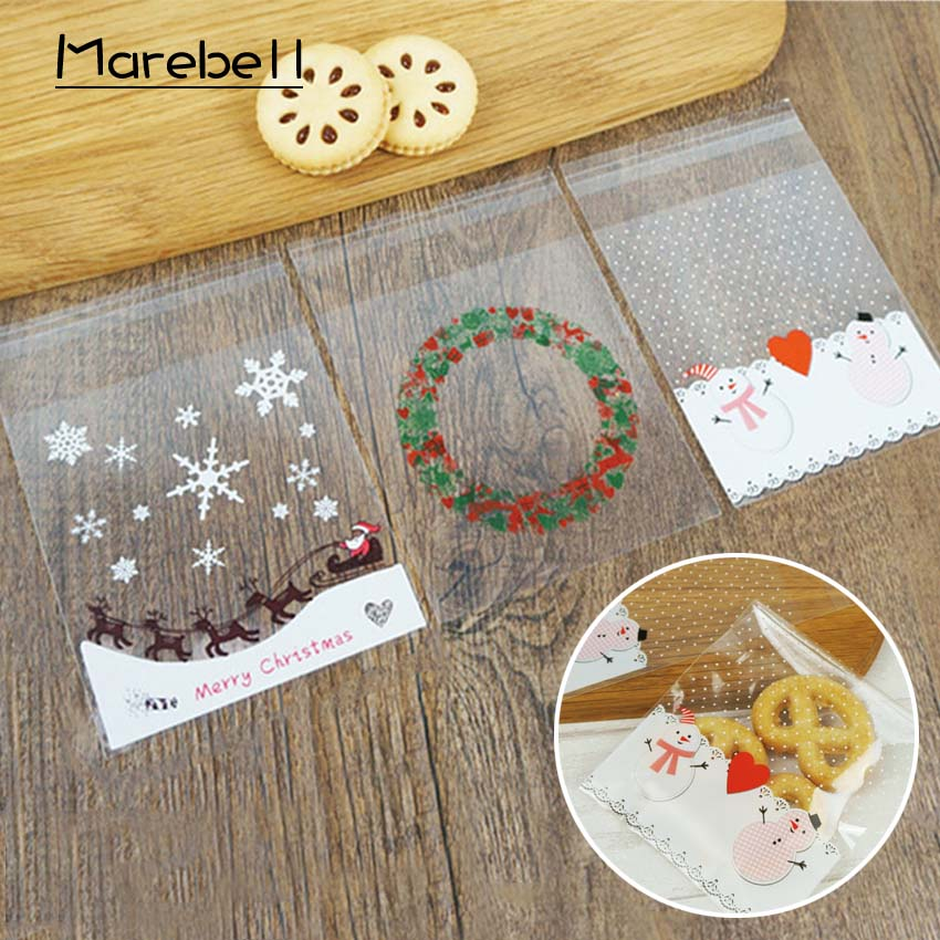 Marebell 50pcs Packing Bags For Cookies Cartoon Santa Claus Snowman Snowflake Christmas Party Biscuit Waffle Baking Packaging