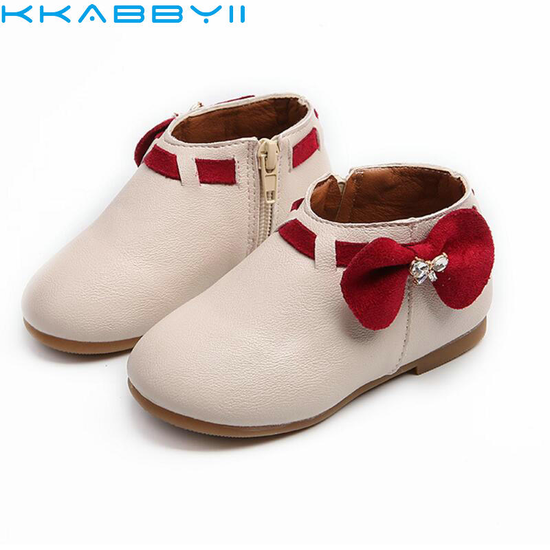 Girls Boots Princess New Toddler Autumn Fashion Bowknot Children Snow Boots Zip Kids Shoes For Girls Sneakers PU