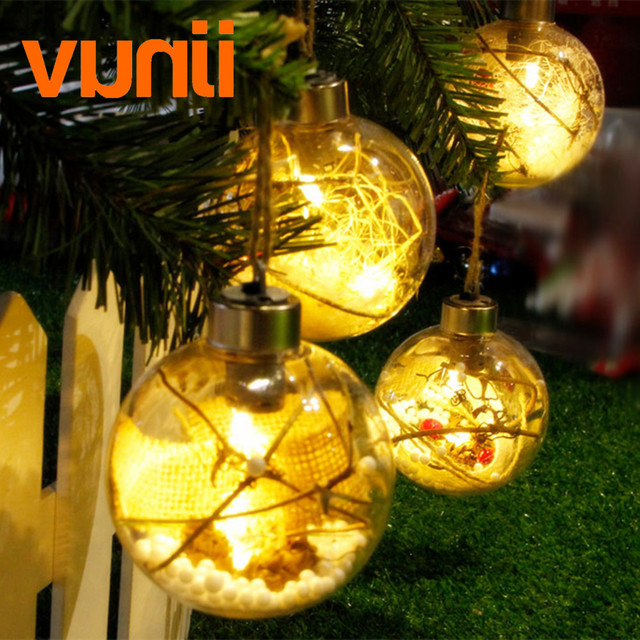 led christmas ball light with battery operated for christmas tree decoration warm and