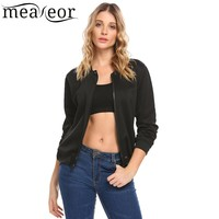 Meaneor Women Casual Baseball Bomber Jacket Spring Autumn Fashion Long Sleeve Solid Zipper Jackets Coats Ladies