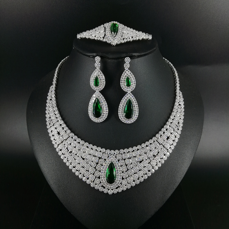2019 NEW FASHION green red blue CZ zircon necklace earring bracelet ring wedding bridal banquet dinner dressing jewelry set2019 NEW FASHION green red blue CZ zircon necklace earring bracelet ring wedding bridal banquet dinner dressing jewelry set