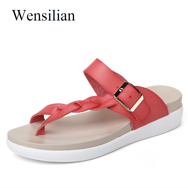 Designer Sandals Women Genuine Leather Flats Platform Shoes Anti Slip Ladies Beach Casual Shoes Slip On Slides Chaussure Femme