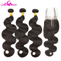 Ali Coco Brazilian Body Wave Lace Closure Non Remy Weft Hair Weave 3 Bundles Human Hair