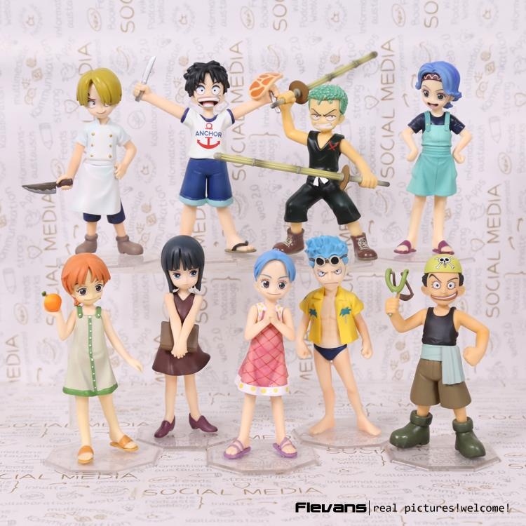 Anime One Piece POP Childhood ver. Luffy Zoro Sanji Nami Robin PVC Action Figures Collectible Model Toys 10 Types new anime one piece gear fourth luffy sanji zoro franky doflamingo pvc action figures cartoon model doll acgn toys 6pcs set