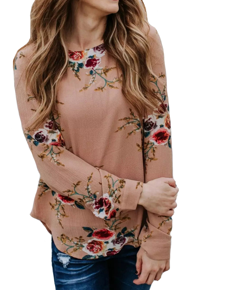 Hitmebox 2018 New Arrival Autumn Winter Fashion Womens Floral Printed Round Neck Long Sleeve Pullover Casual Blouse Shirt Tops