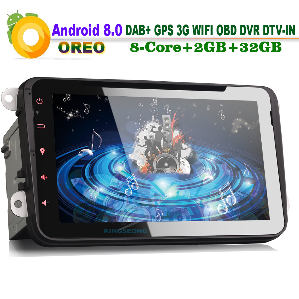 Octa Core 8 Android 8.0 Car DVD Player Head Unit for VW EOS Jetta Polo V 6R Radio GPS Sat Nav DAB+ MP3 Bluetooth DVB-T DVR 3G