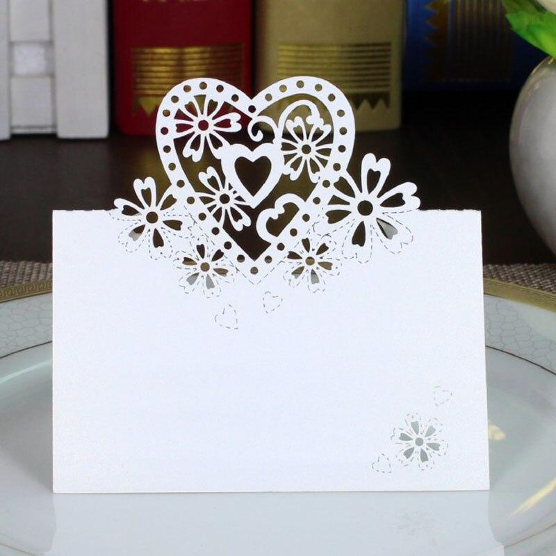 100 Stks/partij White Hart Naam Plaats Kaarten Bruiloft Chic Parelmoer Tafel Naam Bericht Instelling Card Bruiloft Verjaardagslevering Crazy Prijs