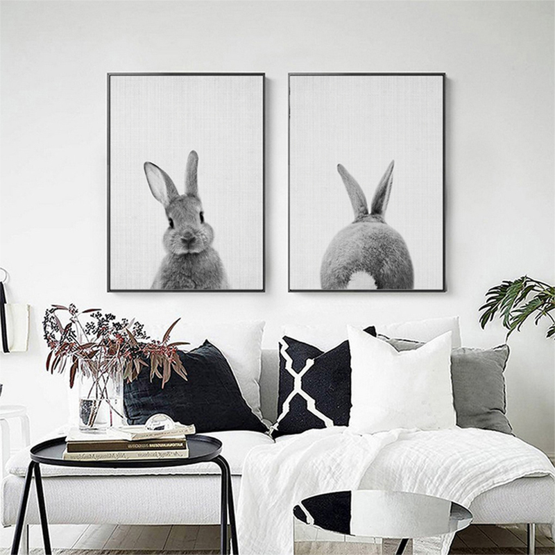 Kawaii Animals Cartoon Canvas Painting Rabbit Posters Prints Nordic Minimalist Nursery Wall Art Picture for Kids Room Home Decor in Painting Calligraphy from Home Garden