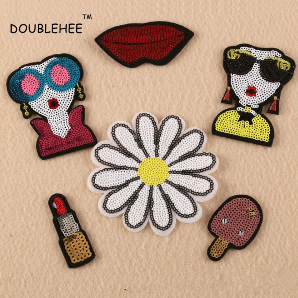 DOUBLEHEE Sequins Beautiful flowers Embroidered Iron On Patches  Design Beauty Badges diy accessories shoes bag