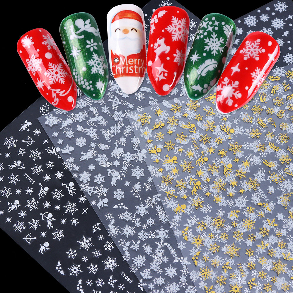 12 Designs Snowflake Hollow 3D Nail Art Sticker Christmas Winter Snow Nail Wrap Decals Gold/Silver/White Manicure Decor LATY/SMY-in Stickers & Decals from Beauty & Health