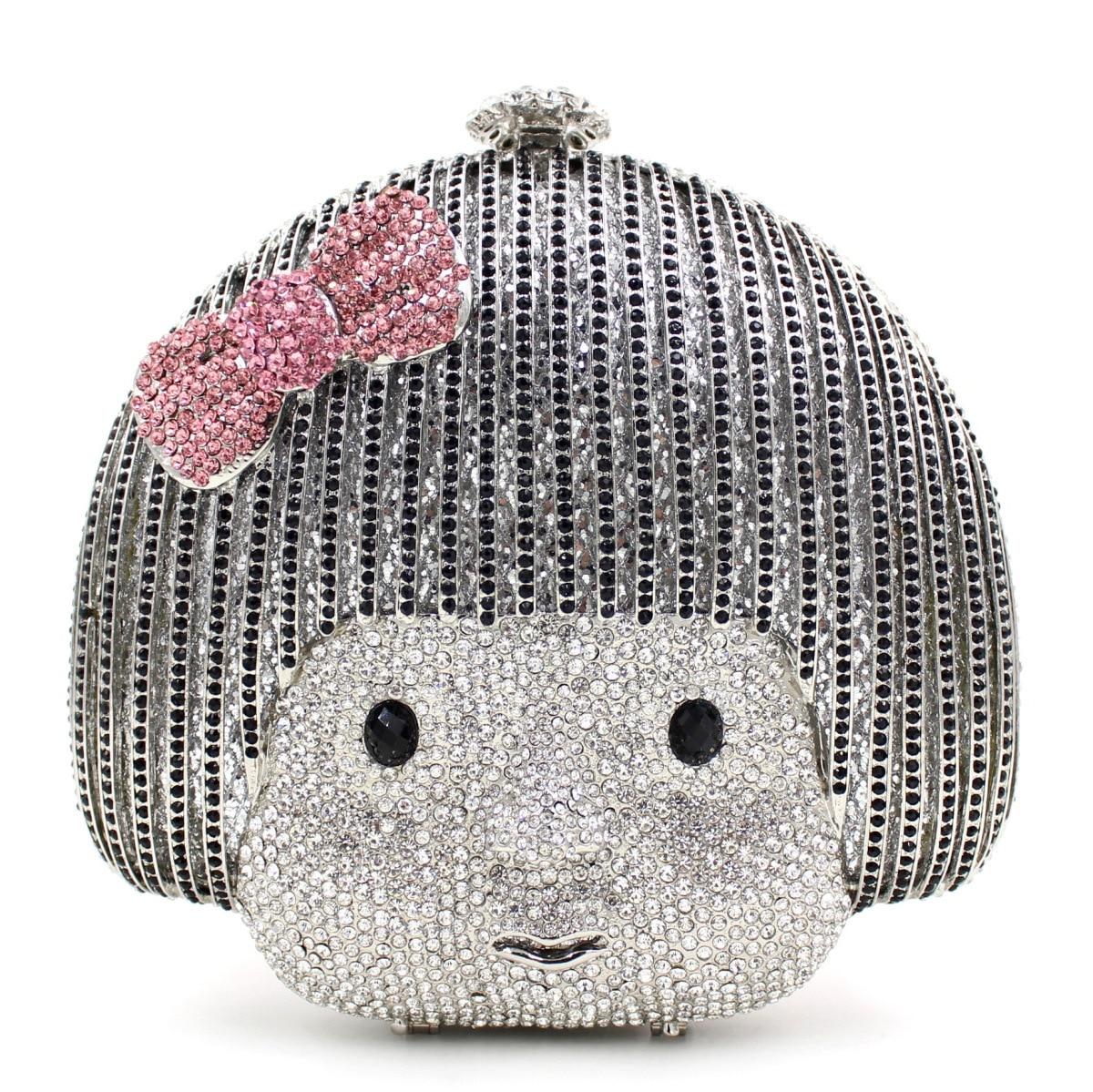2017 new doll luxury women day clutches bag full diamonds bride wedding party dinner bag handbag handbags purse ladies phone bag