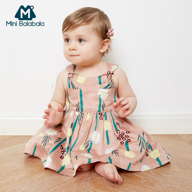 Mini Balabala Baby Girl 100% Cotton Sleevelss Dress in Floral Print with Knot at Shoulder Infant Newborn Baby A-line Dresses