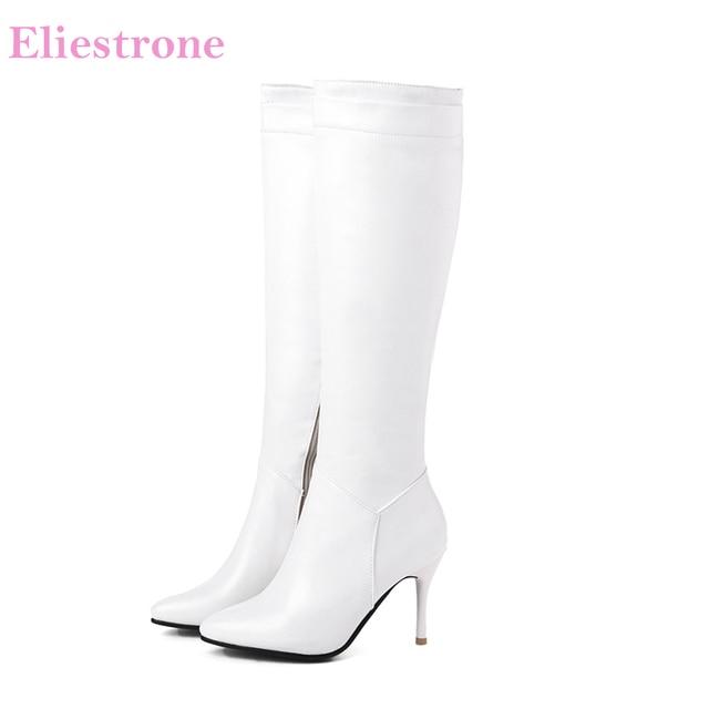 Nuevo invierno cómodo negro blanco mujer rodilla alto desnudo botas tacones altos señora vestido zapatos SH285 talla grande 10 43 45