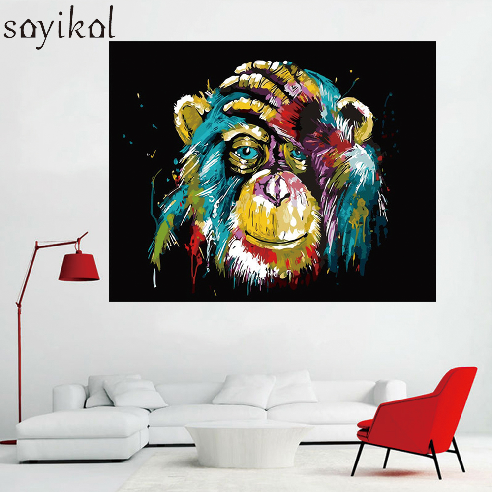 US $7 99 OFF Mewarnai Dengan Nomor Gambar Anjing Singa Burung Hantu Gorila DIY Minyak Lukisan Dengan Angka Abstrak Cat Akrilik Hewan Dinding