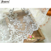 YACKALASI Wedding Dress Fabric Lace Double Borders 3D Embroidered Tulle Bridal Fabric Allovered Flower Luxury Royal Ivory 130cm