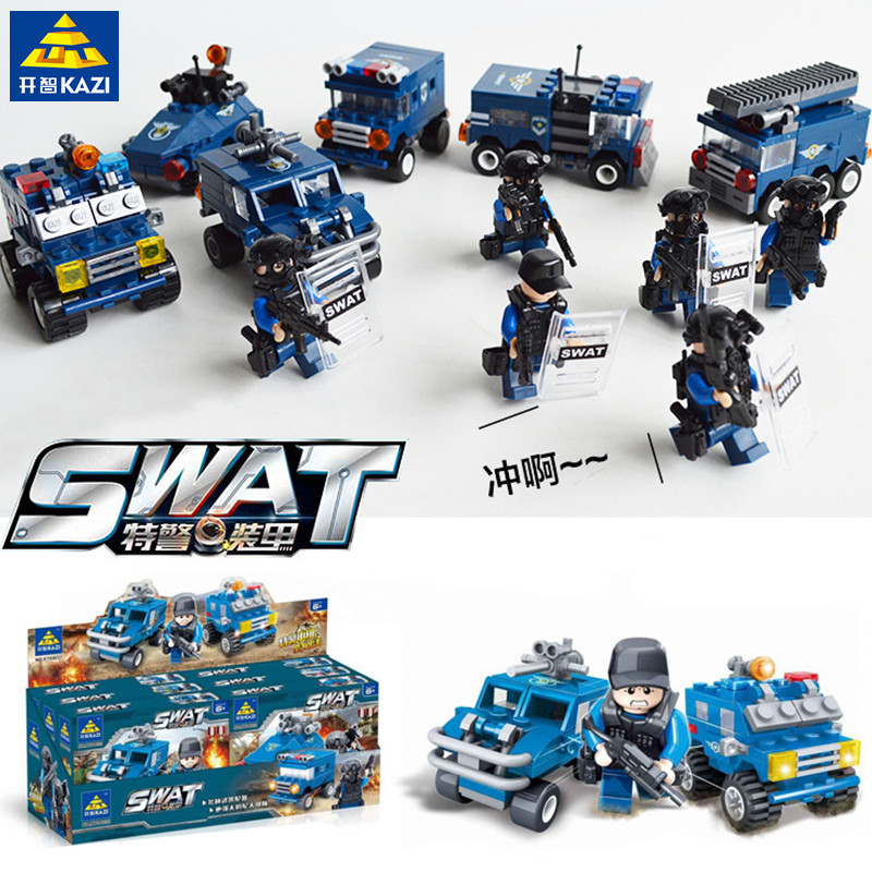 KAZI 6Pcs/lot City SWAT Team Building Blocks Kids Game Action Figure Bricks Playmobil Toys for Children