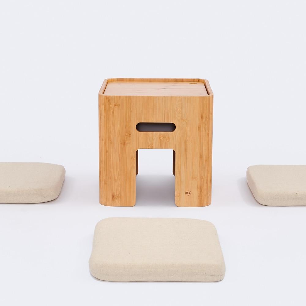 ZEN'S BAMBOU Pouf De Rangement Tabouret Japonais Table Basse Petite Maison Funiture