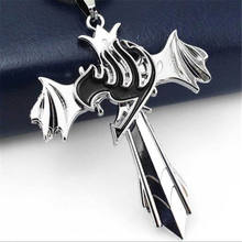 Anime Fairy Tail Cosplay Silver Cross Wing Pendent