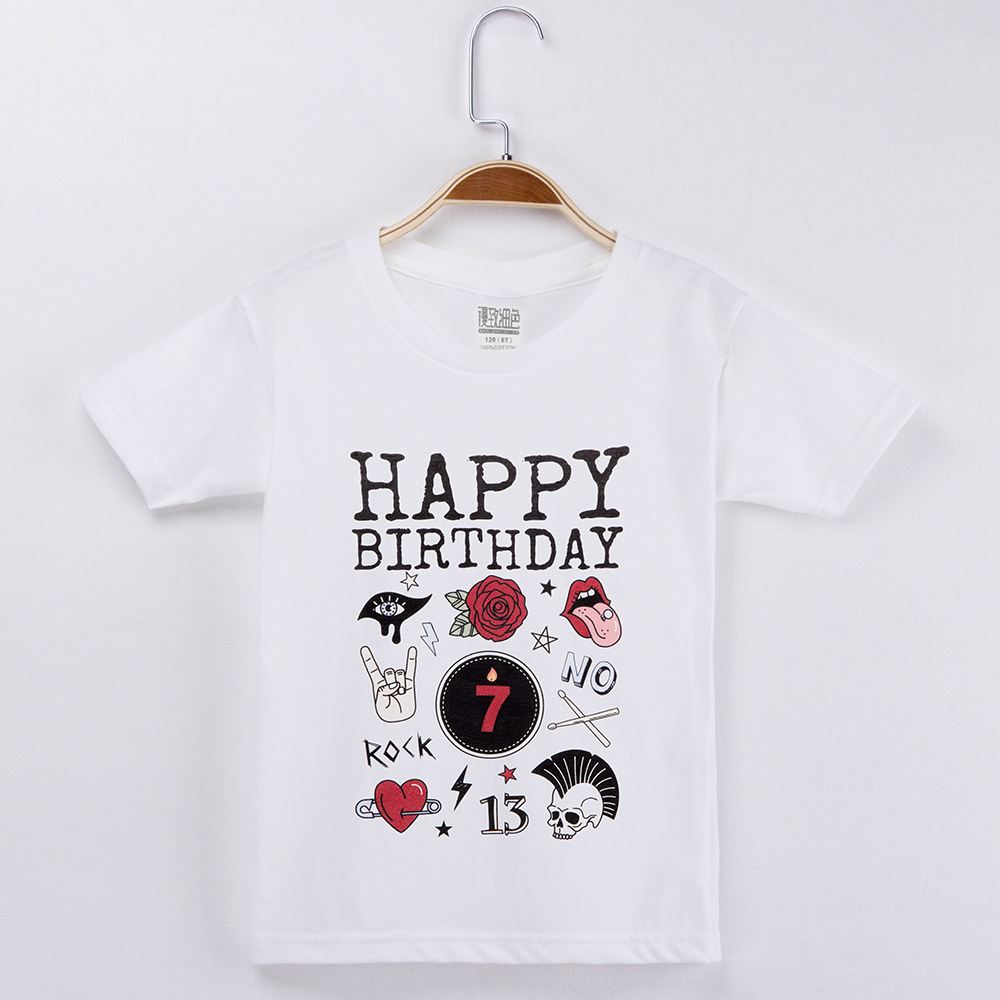 2018 Happy Birthday Kids Clothes Rock And Roll T-shirt For Child 100% Cotton Children T Shirts For Boy Girl Tops Baby Clothing