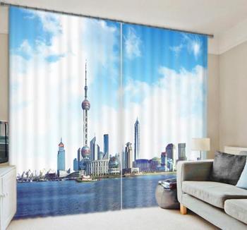 High Quality Chinese Shang Hai CIty Digital Print 3D Blackout Curtains For Living room Bedding room Drapes Cotinas para sala