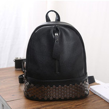 High Quality PU Leather Women Backpack Preppy Style School Backpack Black Mater Rivet Women Bag