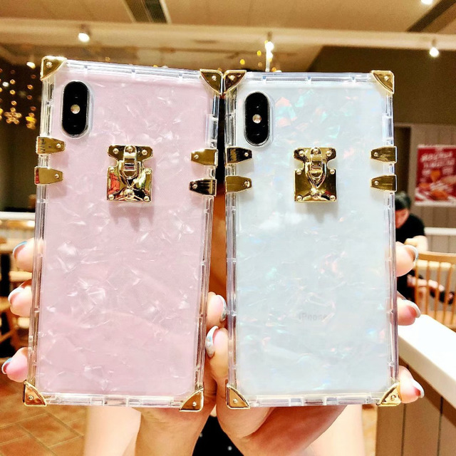 hot sale online 9c71b 311ba US $6.99  For iPhone 7 plus Case Luxury Fashion Women Marble Trunk Case For  iPhone 6 6s plus 8 Case Luxury Marble Cover For iPhone X Capa-in Fitted ...