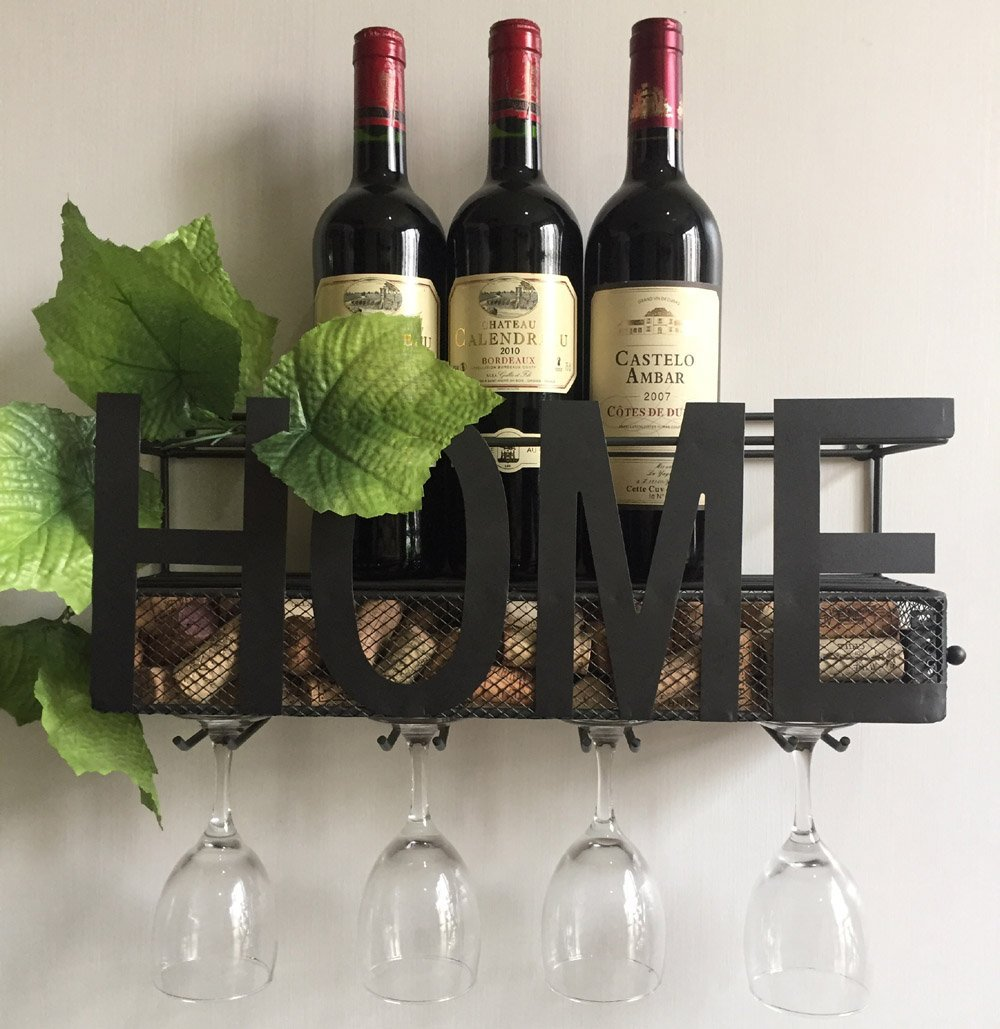 wall mounted metal wine rack. Decorative Wall Mounted Metal Wine Rack 4 Long Stem Glass Holder \u0026 Cork Storage/home Plus Holder-in Storage Holders Racks From E