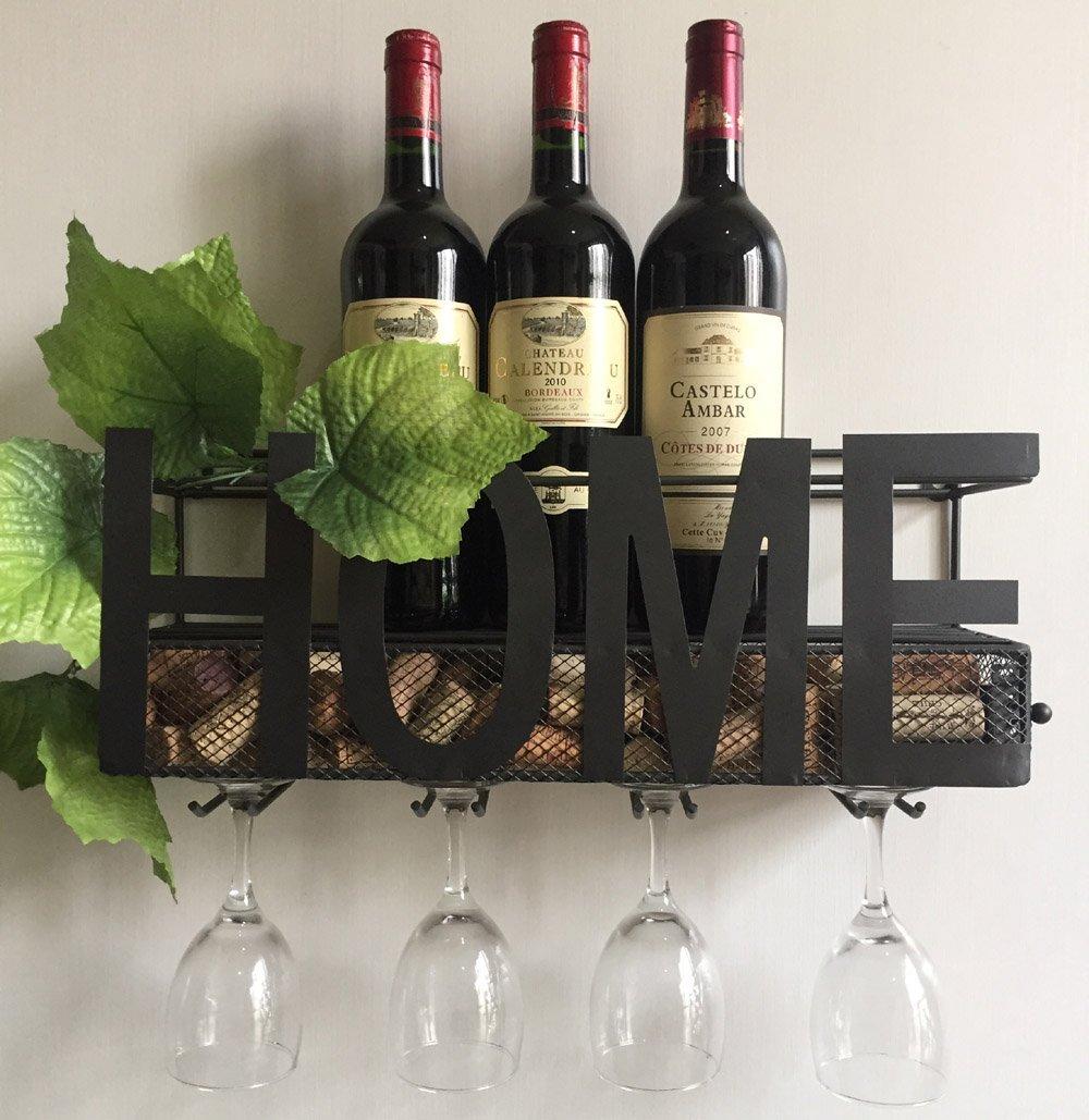 Decorative Wall Mounted Metal Wine Rack 4 Long Stem Glass ...