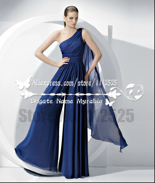 Amp1136 Bridesmaid Jumpsuit Royal Blue Chiffon Jumpsuits Evening
