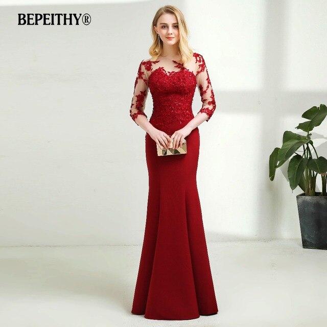 Vintage O neck Mermaid Long Evening Dress Sheer Three Quarter Sleeves Elegant Floor Length Dark Red Prom Dresses 2020 New
