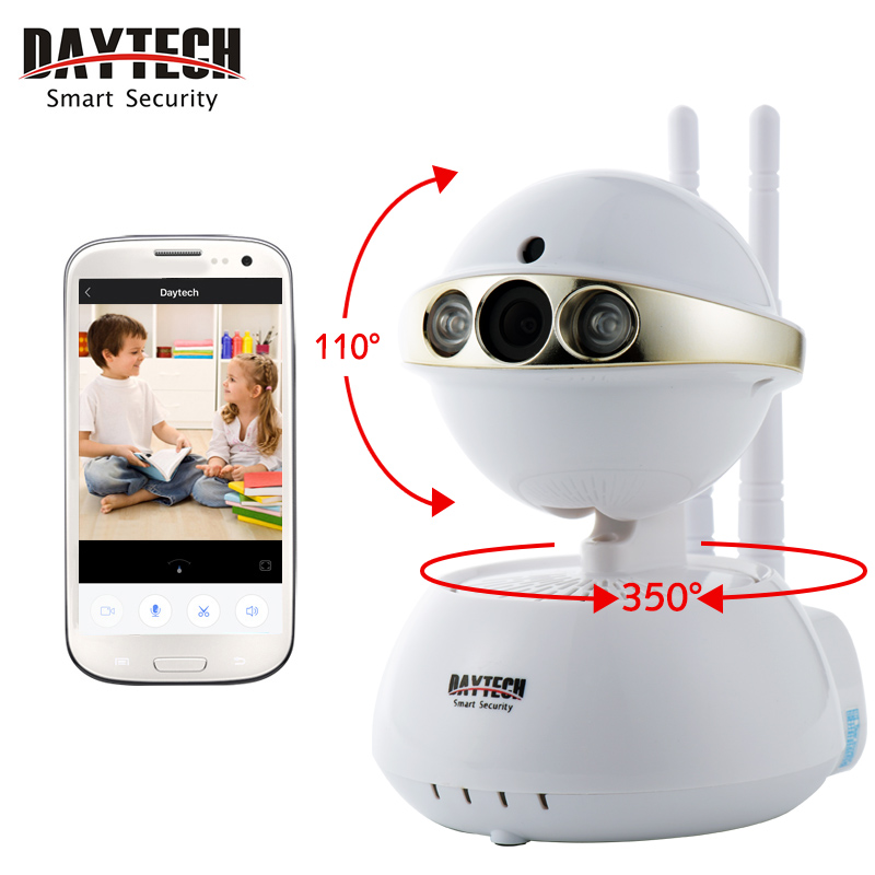 DAYTECH Wifi Camera Night Vision Motion Detect Baby Monitor Network Mobile Remote CCTV Security Camera Two way Audio Cam DT-C104 smart mini camera wifi support two way audio night vision sd card onvif motion detect camera with wifi for home security