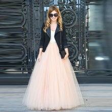 Primavera casual falda de tul personalizado naturaleza cintura una línea  piso longitud Maxi completo falda modesta 03c6aa5c854f