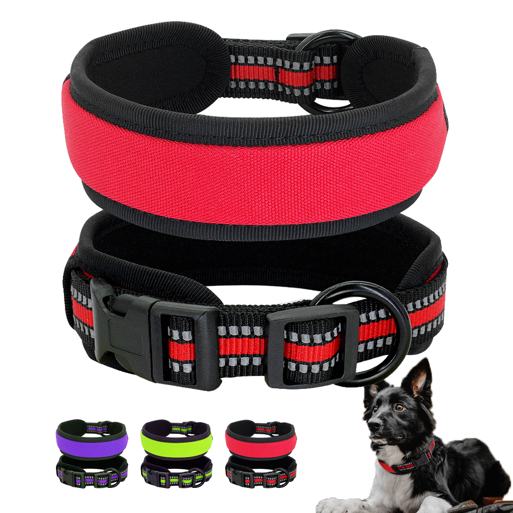 Nylon Dog Collar Reflective Soft Padded Dogs Collars Wide Pet Collar Adjustable for Pitbull Bulldog Pug Small Medium Large Dogs