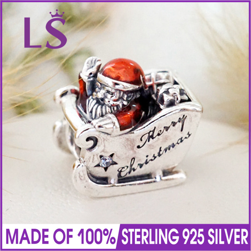Ls High Quality 100% Real 925 Silver Sleighing Santa Charms Beads Fit Original Bracelets Pulseira Encantos.100% Fine Jewlery W