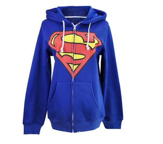 Kigurumi Onesies Cosplay Unisexe Superman Capuche Vestes Super-Héros Batman Sweat Noir Sweat À Capuche Bleu Zipper Casual Tops