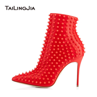 Black and Red Ankle Boots for Women 2018 Pointy Autum Winter Heels Rivets Extreme High Heel Booties Ladies Studded Shoes Size 44
