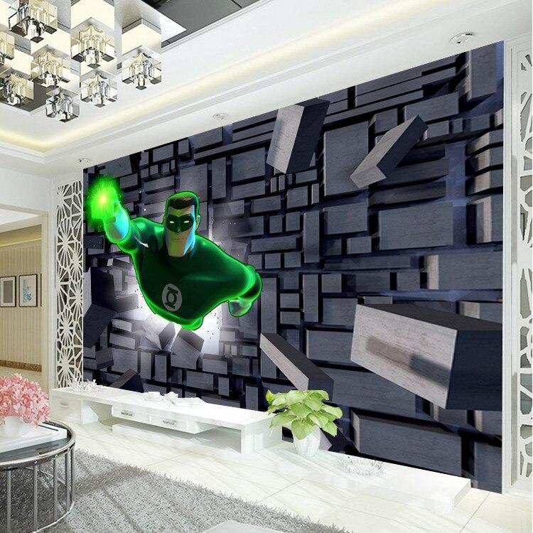 Buy 3d brick wall design wallpaper green for Boys mural wallpaper