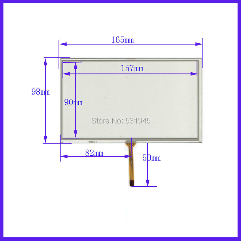 ZCR-1472  7 Inch  For AT70TN90 165mm*98mm 4 Wire  TOUCH SCREEN    For Gps Glass ZCR-1472  7  Touch Panel 165*98