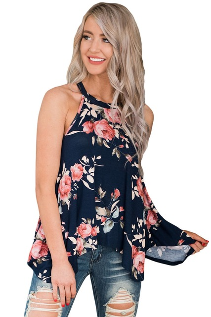 aab8951e2f928 2017 Summer New Fashion Top Plus Size Women Tanks Clothing Sleeveless High  Street Floral Print Flowy Tank Top Blusas Feminino