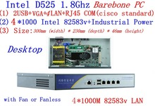 Atom D525 firewall server dual core 1.8GHz Desktop mode 4*Intel 82538V 1000M support pfSense, WayOS, ROS Mikrotik Barebone PC
