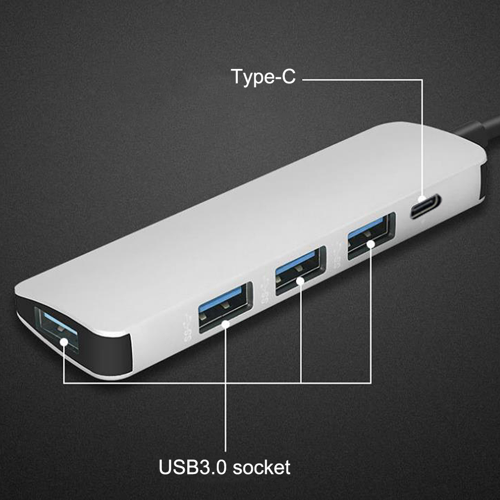 Image 4 - 5 in 1 USB Type C Hub Hdmi PD Power Delivery Port 4 USB 3.0 Ports USB C Hub Adapter for Mac book Pro Thunderbolt USB C HUB-in USB Hubs from Computer & Office